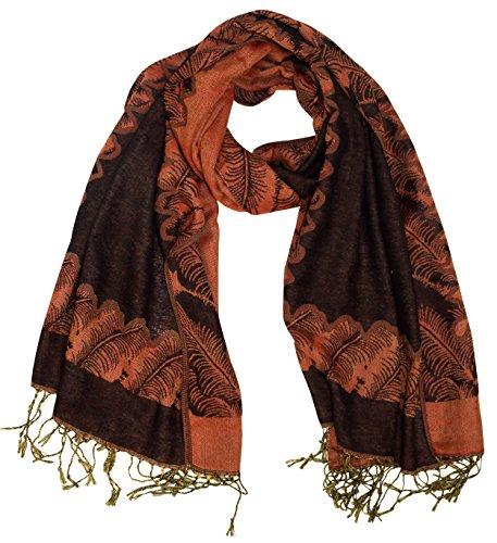 (Peach Couture Women's Ravishing Reversible Jacquard Paisley Shawl Wrap Pashmina (Black/Orange))