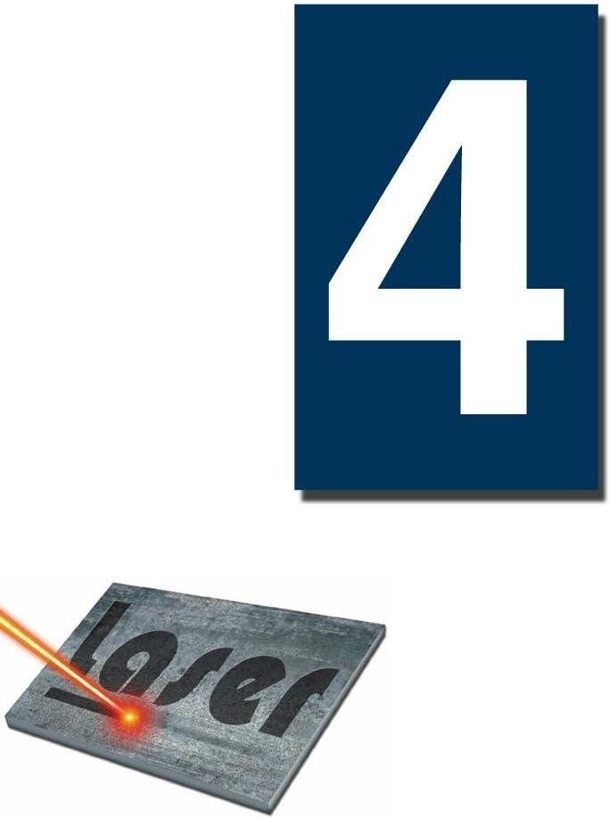 """Plaque gravée autocollante 5x8cm Numéro de rue /""""1/"""" fond Bleu"""