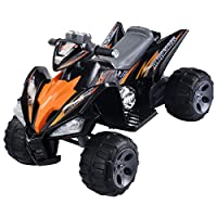 Orange Black Kids Ride On Quad 4 Wheel Electric ATV Car 12V Battery Power Led Lights