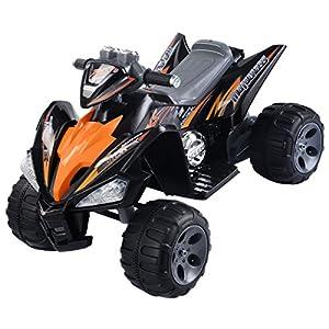 Orange Black Kids Ride On Quad 4 Wheel Electric ATV Car 12V Battery Power Led Lights