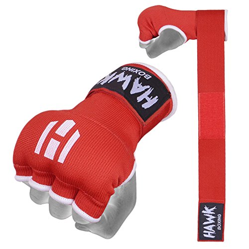 Hawk Padded Inner Gloves Training Gel Hand Wraps for Boxing Quick Wraps Men & Women Kickboxing Muay Thai MMA Bandages Fist Knuckle Wrist Protector Handwraps (Pair) (Red, S/M)