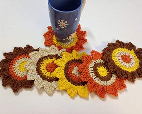 Crochet Sunflower Coaster (Set of 6)