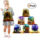BeeGreen Dinosaur Party Supplies Favors Bags Drawstring Backpacks 6 Pack