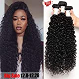 Baby Young(16 18 20 +14) Brazilian Curly Hair Closure With 3 Bundles Virgin Unprocessed Human Hair Curly Bundles with Closure Natural Black Curly Weaves Closure Free Part Human Hair Extension