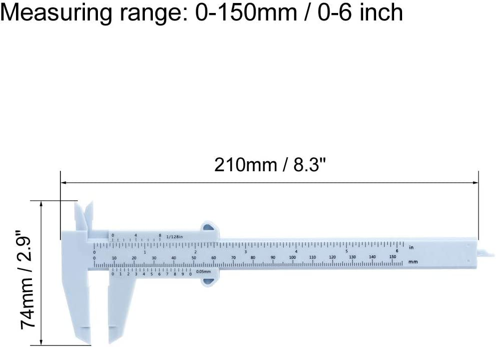 sourcing map Vernier Caliper 150mm 6 Inch Metric Plastic Measuring Tool for Precision Measurements Outside Inside Depth Blue