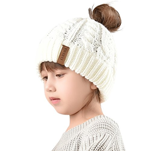 Winter Hats For Girls Ponytail Beanie Hat Kids Toddler Girl Knit Cap Messy Bun, Age 3-12 Years