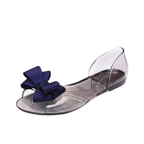 Sandalias de Vestir para Mujer Verano 2018 PAOLIAN Playa Casual Zapatillas de Vestir Transparente Suela Blanda Zapatos de Plano de Boca de Pescado Fiesta ...