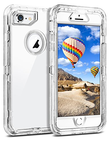(Coolden Clear Case for iPhone 8 7 NOT Plus, Hybrid Protective Dual Layer Shockproof Case with Hard PC Bumper Soft TPU Back for 4.7 Inches iPhone 6 6S 7 8-Transparent)