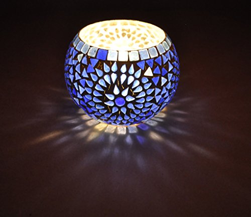 Indian Handmade Mosaic Glass Candle Holder Room Decorative 5 (Stained Glass Christmas Candles)