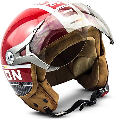 "SOXON® SP-325 Plus ""Red"" · Jet-Helm · Motorrad-Helm Roller-Helm Scooter-Helm Moped Mofa-Helm Chopper Retro Vespa Vintage…"