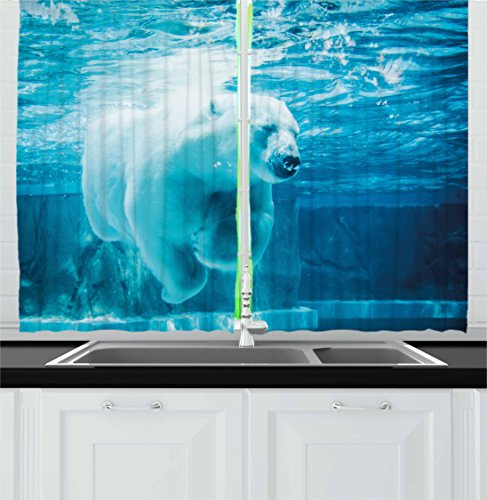 Ambesonne Bear Kitchen Curtains, Arctic Polar Bear Dipping into Water Swimming Ursus Maritimus Underwater View, Window Drapes 2 Panel Set for Kitchen Cafe, 55 W X 39 L Inches, Blue Pale Blue (Bear Polar Artwork)