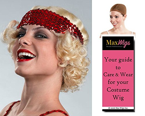 Erica Flapper Color Brown - Enigma Wigs Women's 1920s Chicago Dancer Charleston 20s Bundle with Wig Cap, MaxWigs Costume Wig Care Guide for $<!--$22.03-->