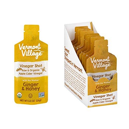 Vermont Village Organic Apple Cider Vinegar Shot - Ginger & Honey (Pack of 12)