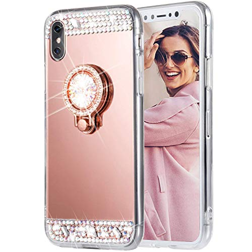 Caka iPhone Xs Max Case, iPhone Xs Max Glitter Case [Mirror Series] Bling Luxury Shiny Cute Mirror Makeup Crystal Protective TPU Case for Girls with Ring Kickstand for iPhone Xs Max - (Rose Gold)