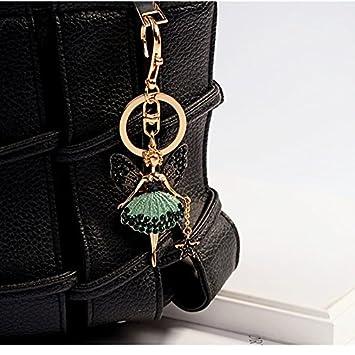 EASYA Fashion Metal Crystal Rhinestone Dancing Angel Keyring Handbag Backpack Wallet Car Charm Pendant Key Chain Gifts for Girls Women,Green chenhui