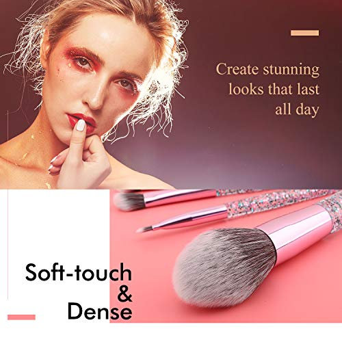Luxspire 10PCS Professional Makeup Brush, Make up Brushes Set Acrylic Handle Powder Brush Eyelash Brush Eye Brow Brush Face Contour Brush Set Cosmetic Makeup Tool with Sequins Bag - Purple