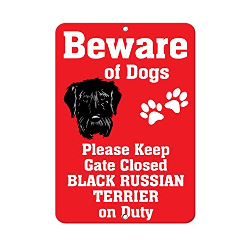 - BLACK RUSSIAN TERRIER DOG Beware of Fun Novelty METAL Sign