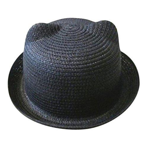 DZT1968 2018 Summer Baby Hat Cap Children Breathable Hat Straw Hat Kids Hat Boy Girls Hats (Black)