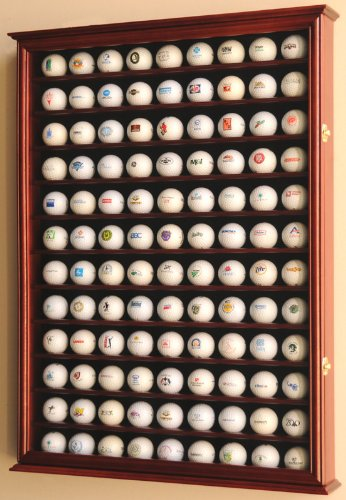 108 Golf Ball Display Case Cabinet Wall Rack Holder w/ UV Protection -Cherry, Outdoor Stuffs