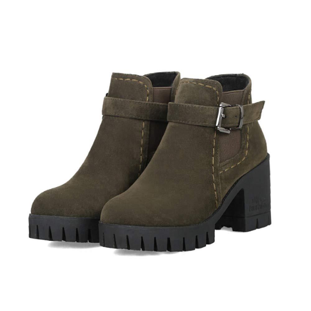 ❤ Botas para Mujer de tacón Alto de Invierno, Zapatos de Mujer con Punta Redonda Hebilla Correa Ante Cuadrado Tacones Medio Martin Boots Absolute: ...