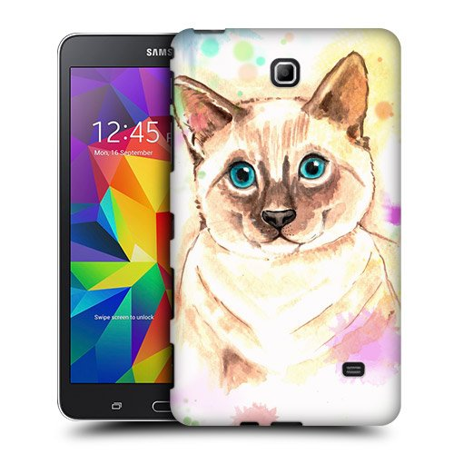 Head Case Designs Cat Watercoloured Animals Protective Snap-on Hard Back Case Cover for Samsung Galaxy Tab 4 7.0 T230 T231 T235