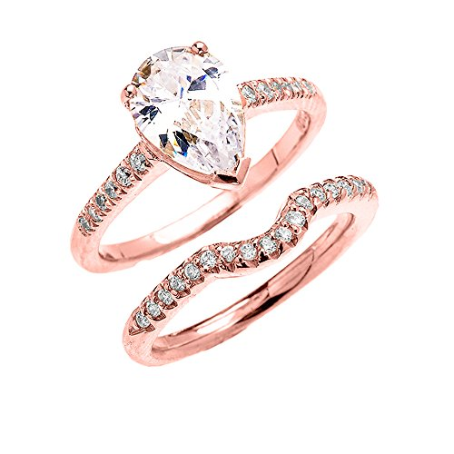 10k Rose Gold Dainty Pear Shape Cubic Zirconia Solitaire Wedding Ring Set(Size 8)