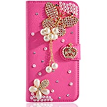Alcatel A3 XL Case,Gift_Source [Card Slot] Luxury Bling Rhinestone Magnetic Wallet PU Leather Purse Crystal Case Flip Stand Cover for Alcatel A3 XL (6.0 inch) [Red Butterfly]