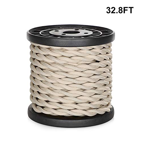 [UL Listed] 32.8ft Twisted Cloth Covered Wire, Carry360 Antique Industrial Electronic Wire, 18-Gauge 2-Conductor Vintage Style Fabric Lamp/Pendant Cloth Cord Cable (Beige)