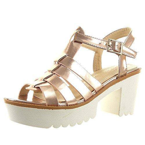 Sopily - Scarpe da Moda sandali cinturino alla caviglia donna multi-briglia Tacco a blocco tacco alto 7.5 CM - Oro