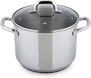 Turbo Pot RS3004 FreshAir Stainless Steel 8.1 Qt. Stock Pot—energy-efficient cookware for gas stove