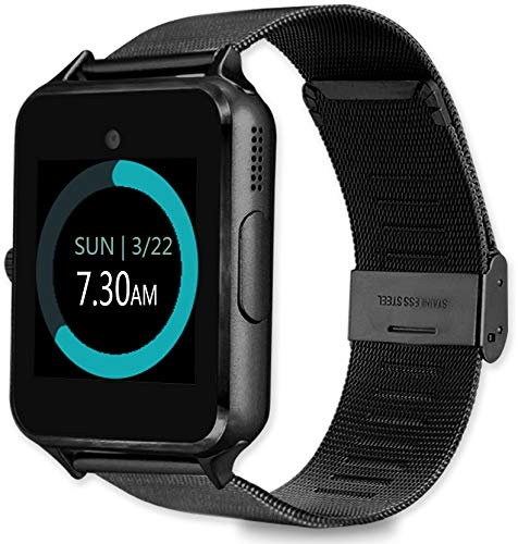 MyTECH Z60 Smart Watch Bluetooth Steel Strap Touchscreen with Camera, Watch Phone Sim Card Slot,Smart Wrist Watch,Smartwatch Phone Compatible Android Samsung iOS Phone XS X8 Men Women Kids (Black)