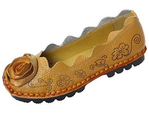 Mordenmiss Women's Fall New Flat Flower Pattern Shoes Style 1 US 9 Yellow