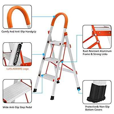 LUISLADDERS 3 Step Ladder Aluminum Lightweight Multi Purpose Portable Folding Home Ladder Anti-Slip Folding Stool Sturdy Steel Ladder 330lbs EN131