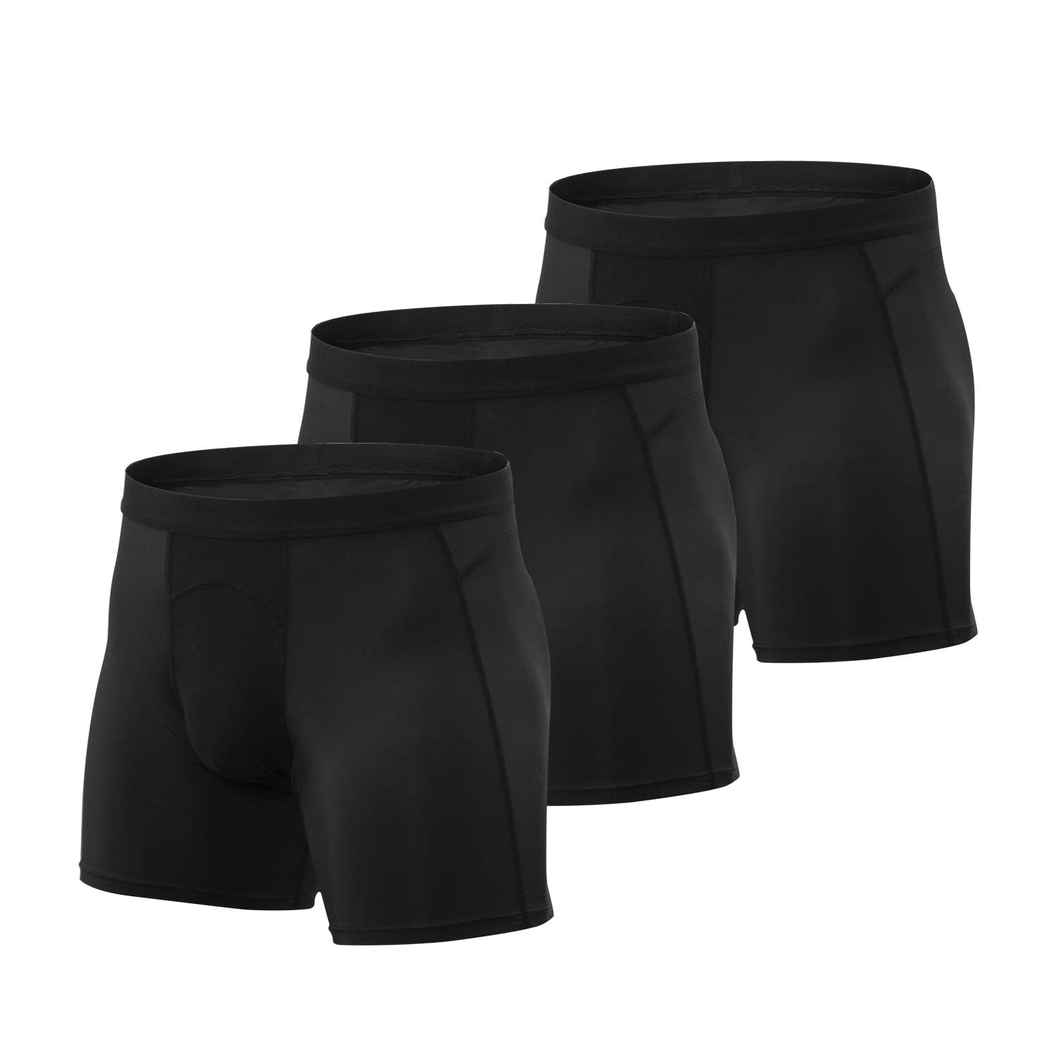 Niksa 3Pcs Men's Athletic Underwear Sport Performance Boxer Briefs Cool Dry-XXL Black by Niksa