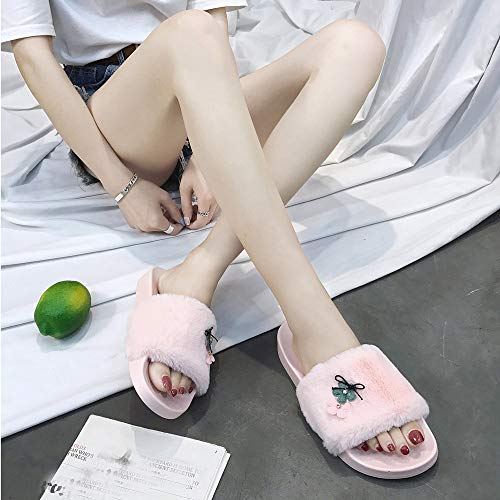 Flop Farjing Slippers Slippers On Slip Women Pink1 Sliders Flat Clearance Faux Fur Sandals Fluffy Flip For Sale WqRfTnAq6