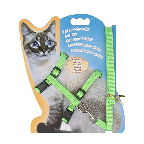 - Rella Home Cat Harness and Leash Adjustable Nylon Halter Harness Kitten Nylon Strap Belt Safety Rope Leads (Green)