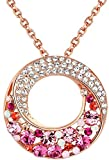 Twin Moons Rose Gold Tone Multi-Stone Pink & Red Swarovski Elements Crystal Twisted Circle Pendant Necklace - Chain Chain 18