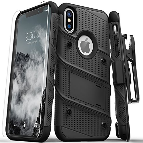 Rubberized Case Black Protector Shield (Zizo Bolt Series Compatible with iPhone Xs Max case Military Grade Drop Tested with Tempered Glass Screen Protector, Holster, Kickstand Black/Black)