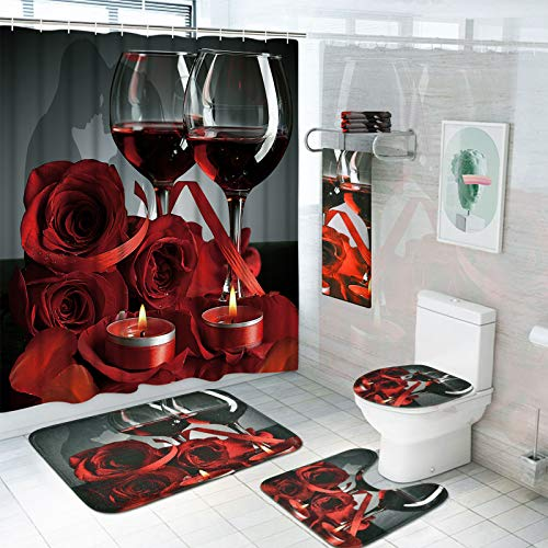 7 Piece Valentines Shower Curtain Sets with Rugs and Towels, Include Non-Slip Rugs, Toilet Lid Cover, Bath Towel and Mat…