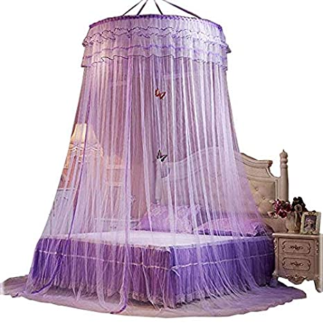 Bed Canopies Shelter for Girls Kids Bedroom Decorations Purple Color Bed  Curtain(Little Princess)