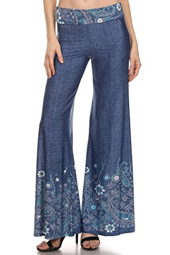 Pants In Mint Black (Womens Regular Size Print, Low Rise Full Length Pants MADE IN USA (M, Denim Blue/Mint white Floral))