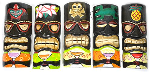 DRUNK TIKIS SET OF 5 HAND CARVED POLYNESIAN HAWAIIAN TIKI STYLE MASKS 12 IN TALL turtle pineapple colorful flower parrot