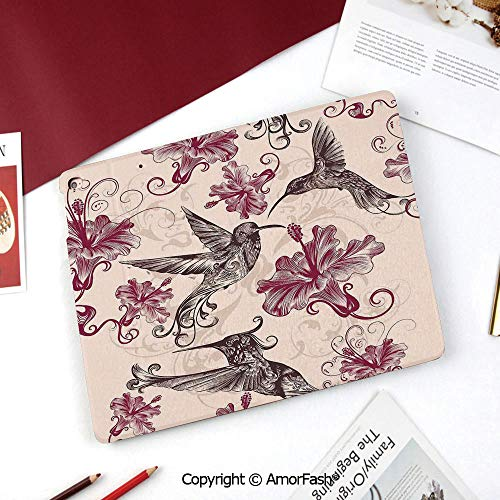 (Hummingbirds Decorations Galaxy Tab A 8.0 2015 Model Case,SM-T350 Case,PU Leather Folio Stand Case,Pattern with Birds and Flowers Swirl Flourish Festive Antique Old Style Ornament Decorative )