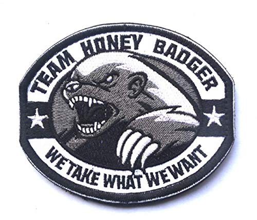Team Honey Badger we take What we Want Military Patch Fabric Embroidered Badges Patch Tactical Stickers for Clothes with Hook & Loop (color2)