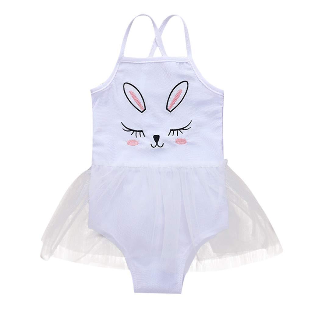 Yalasga Kids Baby Girls Embroidered Cartoon Rabbit Bunny Monokini Bikini Swimsuits Bathing Swimwear One Piece