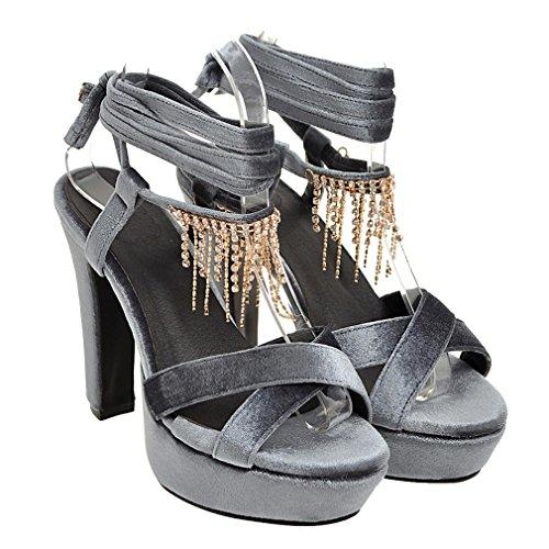 YE Damen Wildleder Offen Zehen Knöchelriemchen Blockabsatz High Heel plateau sandalen mit Strass und Schnürung Elegant Schuhe Grau
