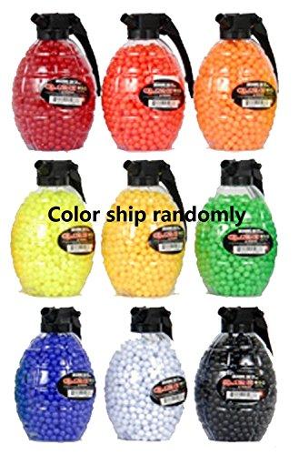 VIVOI 0.12g 6mm BBs in Large Grenade Bottle, 1500 Rounds per Bottle/Quickload Grenade Container(Color Randomly) - 6mm Plastic Bbs