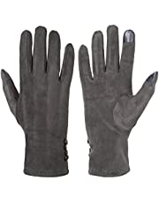 GLOUE Women's Touch Screen Gloves Texting Suede-Like Warm Winter Feast Gloves Driving Riding Outdoor and Indoor Fashion Gloves
