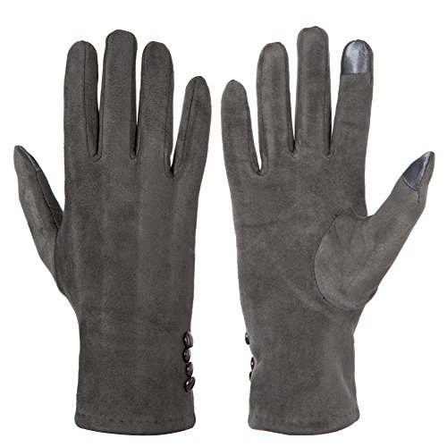 8 Fashion Outlet (GLOUE Women's Touch Screen Gloves Texting Suede Leather Warm Winter Feast Gloves Driving riding outdoor and indoor fashion gloves (Gray))
