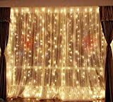 DLPIN 304 LED Christmas Lights Linkable Window Curtain String Lights UL Safe Fuse Saving Settings for Wedding Home Party Decorations - 9.8FT Warm White